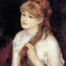 Young Woman Strokes her Hair portrait canvas art print by Pierre-Auguste Renoir