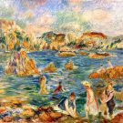 The Beach at Guernsey 1895 women children people canvas art print by Pierre-Auguste Renoir