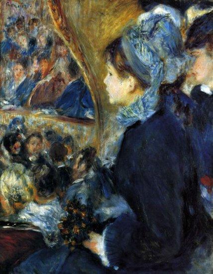At the Theatre c. 1876 women people canvas art print by Pierre-Auguste Renoir