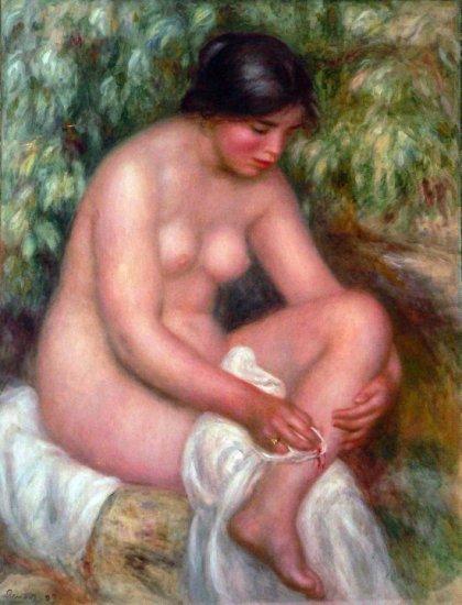 Bathing woman canvas art print by Pierre-Auguste Renoir