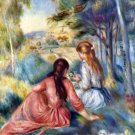Young Girls in the Meadow landscape canvas art print by Pierre-Auguste Renoir