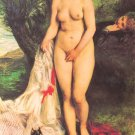Bather with a Terrier 1870 dog woman beach canvas art print by Pierre-Auguste Renoir