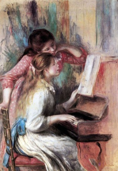 Young Girls at the Piano I canvas art print by Pierre-Auguste Renoir
