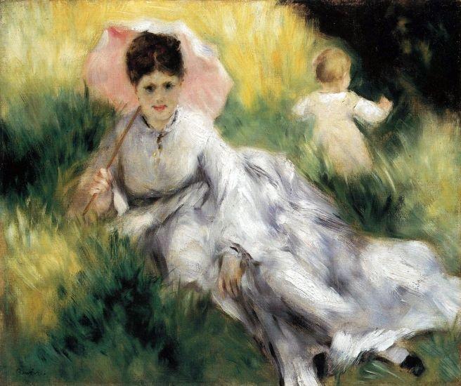 Woman with Parasol portrait canvas art print by Pierre-Auguste Renoir