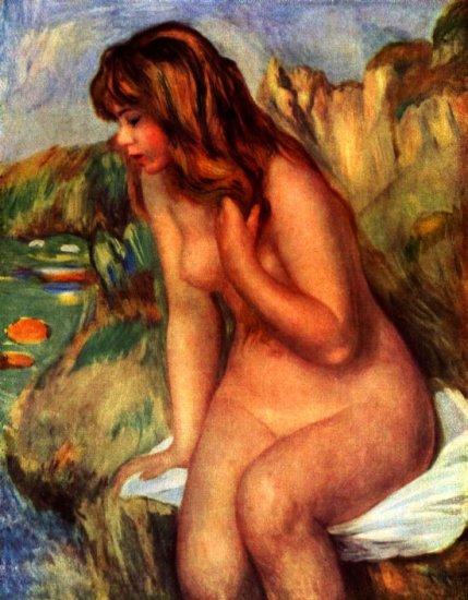 Bathing Sitting on a Rock woman beach canvas art print by Pierre-Auguste Renoir