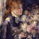 Woman with Lilacs portrait flowers canvas art print by Pierre-Auguste Renoir