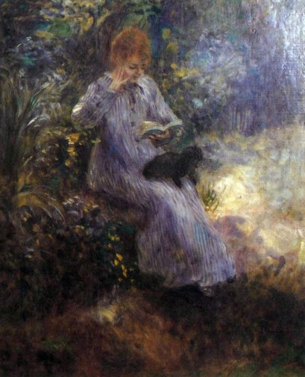 Woman with a Black Dog landscape canvas art print by Pierre-Auguste Renoir