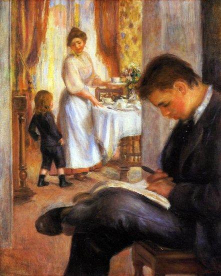 Breakfast at Berneval woman man girl child canvas art print by Pierre-Auguste Renoir