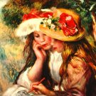 Two Reading Girls in a Garden landscape canvas art print by Pierre-Auguste Renoir