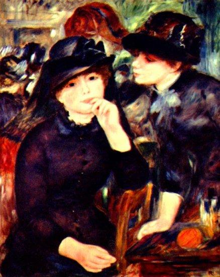 Two Girls in Black portrait canvas art print by Pierre-Auguste Renoir