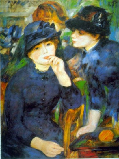 Two Girls portrait canvas art print by Pierre-Auguste Renoir