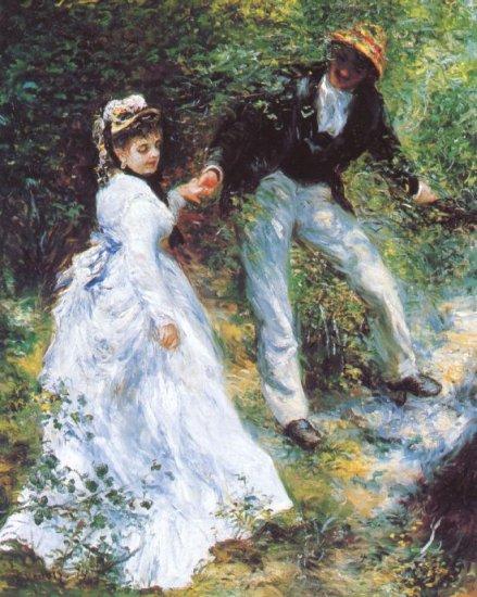 The Walk woman man portrait landscape canvas art print by Pierre-Auguste Renoir