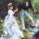 The Walk woman man portrait landscape canvas art print by Pierre-Auguste Renoir