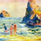 Cliffs at Guernsey seascape rock people beach canvas art print by Pierre-Auguste Renoir