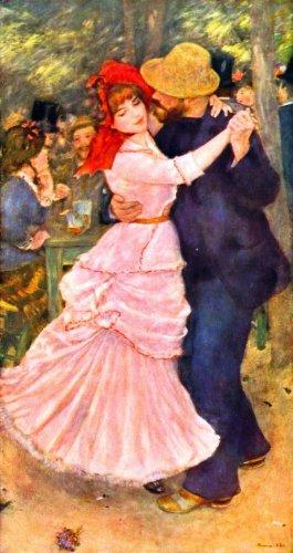 Dance at Bougival in Pink Dress men woman people canvas art print by Pierre-Auguste Renoir