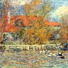 Duck Pond men in a boat water landscape trees canvas art print by Pierre-Auguste Renoir