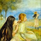 Girls by the Seaside seascape beach canvas art print by Pierre-Auguste Renoir
