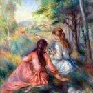 In the Meadow two girls women people landscape trees canvas art print by Pierre-Auguste Renoir