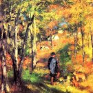 Painter Jules Le Coeur Walking His Dogs in Fontainebleau canvas art print by Pierre-Auguste Renoir