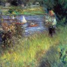 The Seine at Chatou Detail river water landscape canvas art print by Pierre-Auguste Renoir