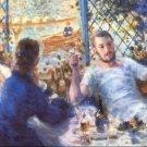 The Rowers Lunch men boat water landscape canvas art print by Pierre-Auguste Renoir