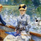 Summer Day women river water landscape canvas art print by Pierre-Auguste Renoir