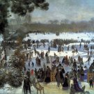 Skating runners in the Bois de Bologne winter landscape canvas art print by Pierre-Auguste Renoir