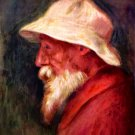 Self Portrait with white hat man canvas art print by Pierre-Auguste Renoir