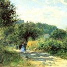 Road to Louveciennes landscape trees people forest canvas art print by Pierre-Auguste Renoir