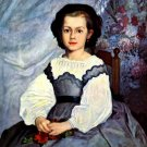 Portrait of Mademoiselle Romaine Lancaux 1864 girl canvas art print by Pierre-Auguste Renoir