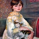Portrait of Mademoiselle Julie Manet with Cat 1887 canvas art print by Pierre-Auguste Renoir