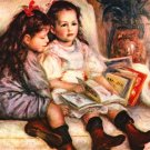 Portrait of Jean and Genevieve Caillebotte 1895 girls canvas art print by Pierre-Auguste Renoir