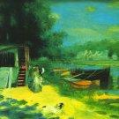 Place for Bading river water landscape canvas art print by Pierre-Auguste Renoir