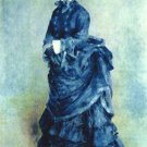 Paris girl the lady in blue woman portrait canvas art print by Pierre-Auguste Renoir