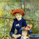On the Terrace 1881 woman girl flowers water landscape canvas art print by Pierre-Auguste Renoir
