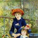 On the Terrace 1881 woman girl flowers water landscape canvas art print by Pierre-Auguste Renoir