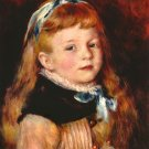 Mademoiselle Grimprel with Blue Hair Band portrait girl canvas art print by Pierre-Auguste Renoir