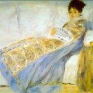 Madame Monet Reading Le Figaro1872 woman portrait canvas art print by Pierre-Auguste Renoir