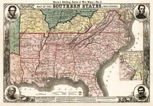 Southern States 1863 from Delaware to Texas Civil War Map by Bacon