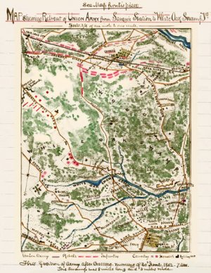 Union Retreat from Savage's Station to White Oak Swamp Virginia Civil War map by Sneden