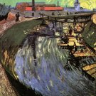 Canal with Women Washing water river landscape genre canvas art print by Vincent van Gogh