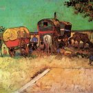 Encampment of Gypsies with Caravans animals people landscape canvas art print by Vincent van Gogh