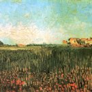 Farmhouses in a Wheat Field Near Arles landscape canvas art print by Vincent van Gogh