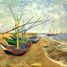 Fishing Boats on the Beach at Saintes Maries seascape landscape canvas art print by Vincent van Gogh