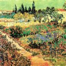 Flowering Garden with Path flowers landscape canvas art print by Vincent van Gogh