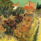 Garden Behind a House flowers landscape canvas art print by Vincent van Gogh