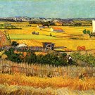 Harvest at La Crau with Montmajour in the Background landscape canvas art print by Vincent van Gogh