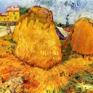 Haystacks in Provence II landscape canvas art print by Vincent van Gogh