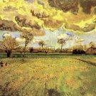 Landscape Under a Stormy Sky canvas art print by Vincent van Gogh
