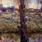 Orchard in Blossom with View of Arles city landscape canvas art print by Vincent van Gogh